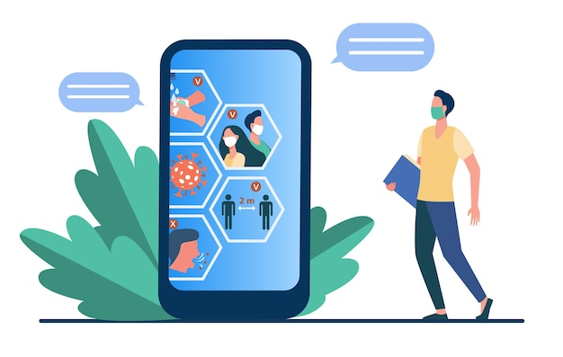 Coronavirus-awareness-chat. telefonbenutzer in mas, der bildschirm mit flacher vektorillustration der covid restriktionsinfografiken betrachtet. epidemie pandemie