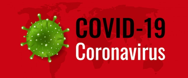 Coronavirus-banner mit rotem hintergrund