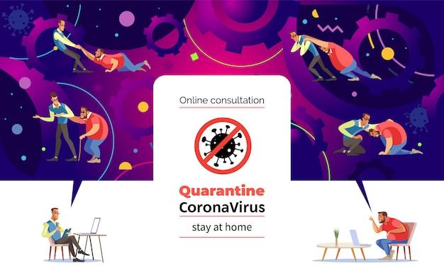 Coronavirus. bleib zuhause. mann auf psychologe online-sitzung. ein mann spricht mit einem therapeuten über ihre probleme durch einen videoanruf. der psychologe beruhigt den patienten und hilft, das problem zu lösen