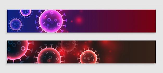 Coronavirus breites bannerset mit textraum