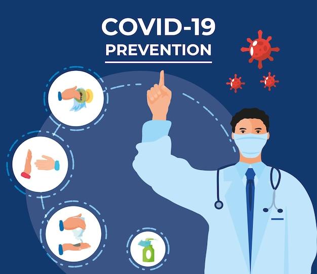 Coronavirus covid 19, arzt stehend punkt finger zu präventionsmethoden infografik illustration