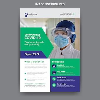 Coronavirus covid-19 flyer-vorlage für medizinische gesundheit
