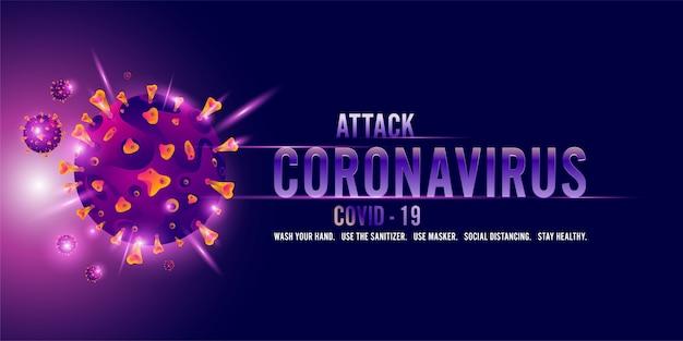Coronavirus, covid-19-hintergrundillustration mit krankheitszellen