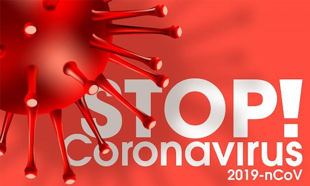 Coronavirus covid-19 medizinisch realistische illustration infektion. hintergrund mit 3d-viruszellen. gefährliches asiatisches ncov-corona-virus. neuartiges coronavirus 2019-ncov