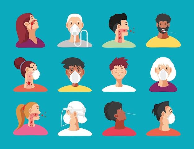 Coronavirus covid 19 symbole setzen geduldige personen mit medizinischer maske, atemschutzmaskenillustration