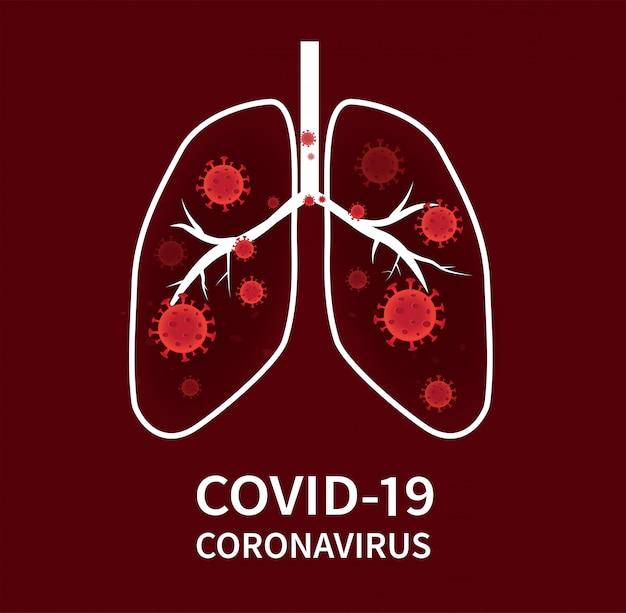 Coronavirus covid-19 zur ausbreitung in die zellen der atemwege und lungen.