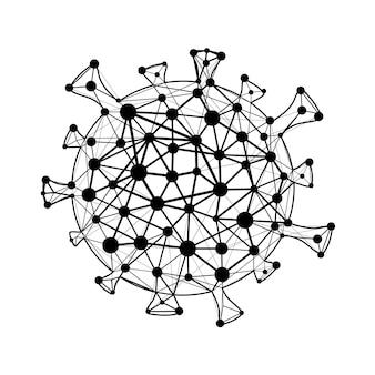 Coronavirus covid schwarze zelle vektor flache cartoon-illustration isoliert auf