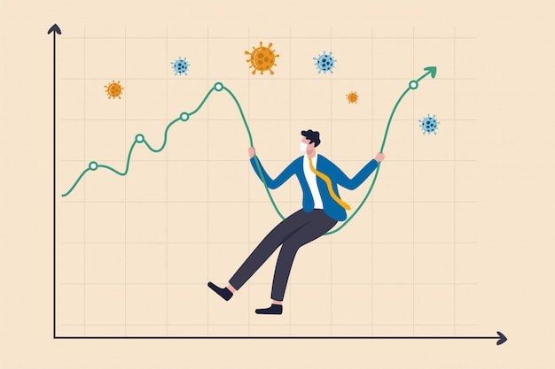 Coronavirus crash börse gestürzt, hohe volatilität asset price swing in coronavirus ausbruch krise konzept, geschäftsmann mit hygienemaske sitzen auf börsendiagramm als swing, covid-19 pathogen