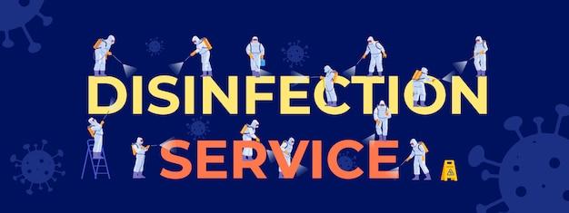 Coronavirus-desinfektionsdienst. menschen in virenschutzanzügen und desinfektionsmasken. reinigungsunternehmen mitarbeiter verschiedene posen, für webseite, social media, poster. karikaturillustration