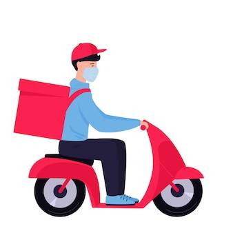 Coronavirus epidemie. kostenlose lieferung. mann in einer schutzmaske trägt essen auf einem motorrad.