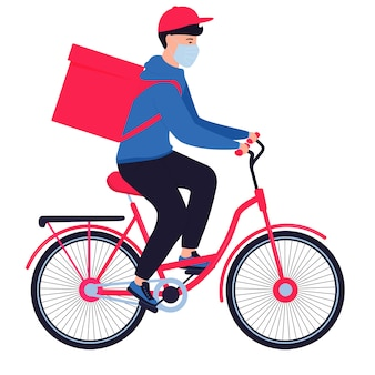 Coronavirus epidemie. lieferbote in einer schutzmaske tragen lebensmittel auf einem fahrrad. kostenloser versand von lebensmitteln.