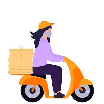 Coronavirus epidemie. liefermädchen in einer schutzmaske trägt pizza auf einem motorrad.