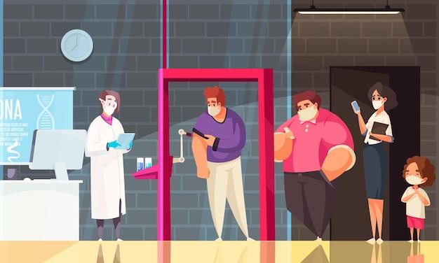 Coronavirus flach gefärbte zusammensetzung mit menschen in schutzmasken, die für die impfillustration in einer schlange stehen