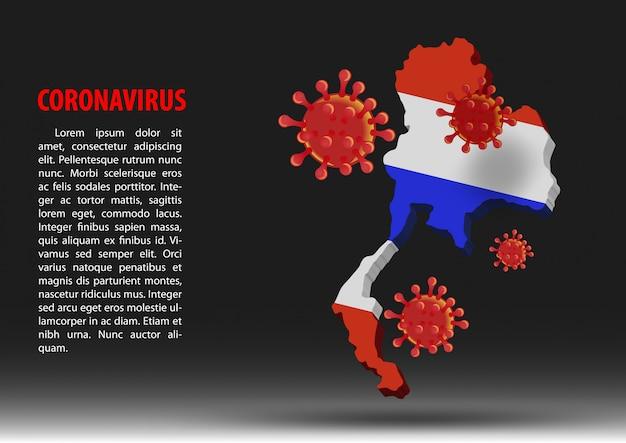 Coronavirus fliegen über karte von thailand innerhalb der nationalflagge