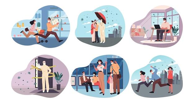 Coronavirus, gesundheit, pflege, schutz, quarantäne, infektionsset-konzept. sammlung menge masse von menschen mit medizinischen gesichtsmasken kaufen toilettenpapierständer in unterirdischen arbeiten aus der ferne illustration.