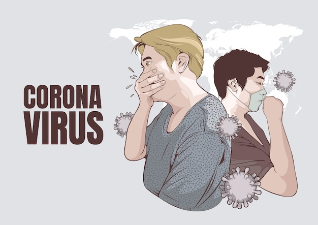 Coronavirus, illustration eines mannes, der hustet und mann in der weißen medizinischen gesichtsmaske.