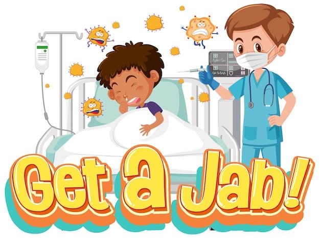 Coronavirus-impfkonzept mit jab time-schriftart und arzt-cartoon-figur
