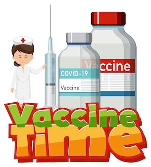 Coronavirus-impfkonzept mit schriftbanner für die impfzeit