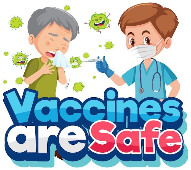 Coronavirus-impfkonzept mit zeichentrickfigur und impfstoffen sind sichere schriftarten