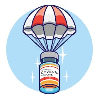 Coronavirus-impfstoff, der auf fallschirmkonzeptdesign fliegt. premium-vektor