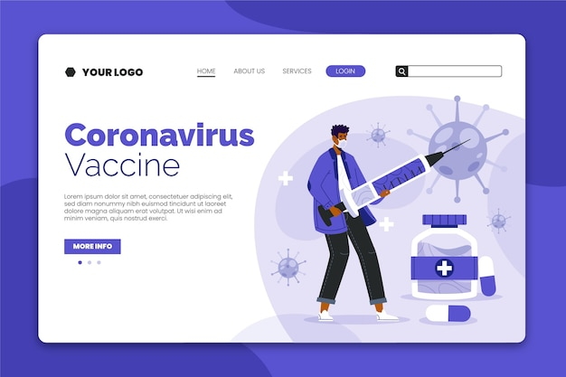 Coronavirus-impfstoff-landingpage mit abgebildeter person