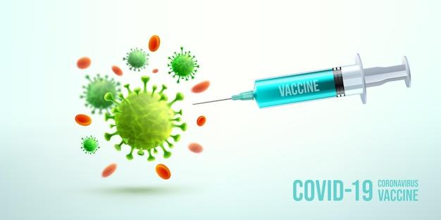 Coronavirus-impfstoff- und spritzeninjektion mit krankheitszellen und roten blutkörperchen. blaues spritzeninjektionswerkzeug für die behandlung mit covid19-immunisierung.