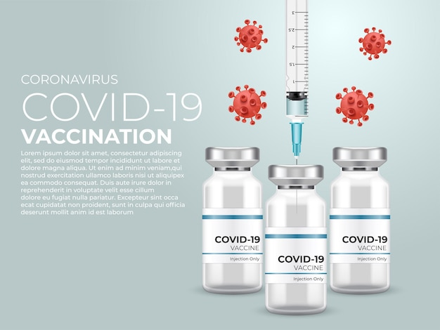 Coronavirus impfung. covid-19-coronavirus-impfung mit impfflasche und spritzeninjektion