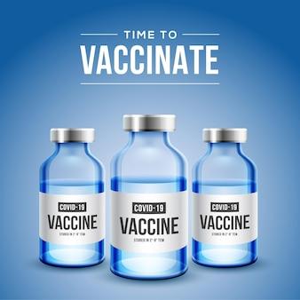 Coronavirus impfung. covid-19-coronavirus-impfung mit realistischer 3d-impfstoffflasche und spritzeninjektionswerkzeug für die covid19-immunisierungsbehandlung.