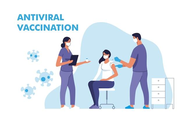 Coronavirus-impfung. frau, die im krankenhaus gegen covid-19 geimpft wird. arzt, der corona-virus-impfstoff injiziert, injiziert patienten. illustration.