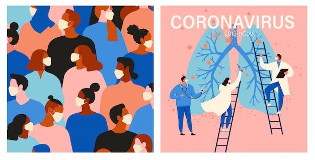 Coronavirus in china. menschen in weißer medizinischer gesichtsmaske. konzeptsatz der coronavirus-quarantäneillustration.