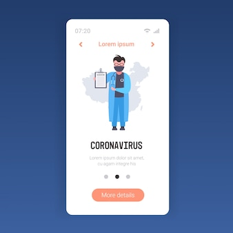 Coronavirus infektionskontrolle diagnose konzept arzt in maske hält zwischenablage epidemie mers-cov wuhan 2019-ncov smartphone-bildschirm mobile app kopierraum in voller länge
