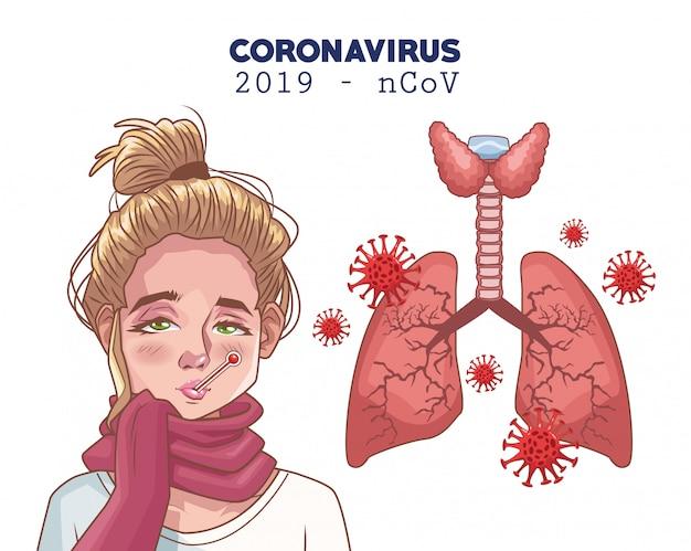 Coronavirus-infografik mit kranker frau und lunge