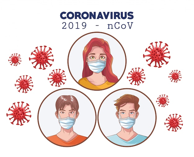 Coronavirus-infografik mit personen, die eine maske verwenden