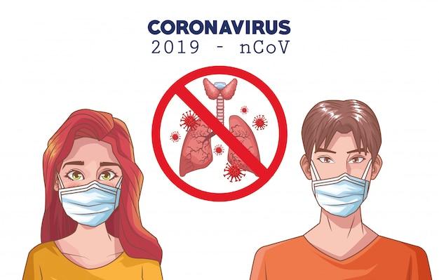 Coronavirus-infografik mit personen, die maske und lunge verwenden
