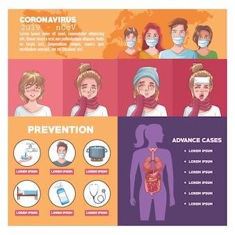 Coronavirus-infografik mit symptomen und fortgeschrittenen fällen vektor-illustration design
