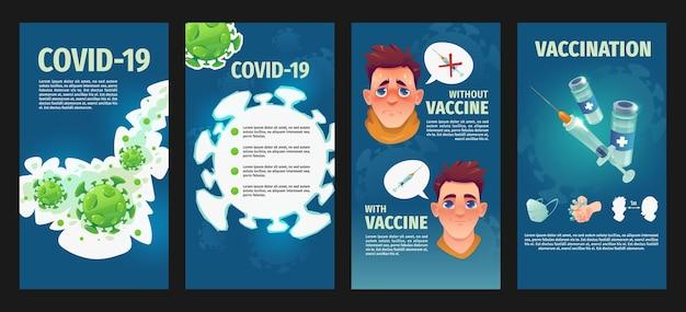 Coronavirus instagram-geschichten im flachen design
