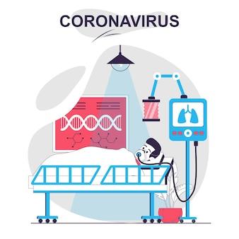 Coronavirus isoliertes cartoon-konzept patient liegt in krankenstation mit alv-geräten