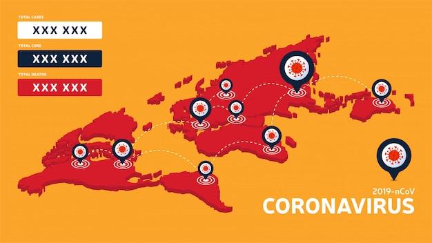Coronavirus isometrische weltkarte bestätigte fälle, heilung, todesfälle weltweit bericht. aktualisierung der coronavirus-krankheitssituation weltweit. karten zeigen die situation und den hintergrund der statistiken