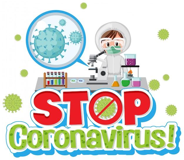 Coronavirus-karikaturentwurf mit dem im labor arbeitenden arzt