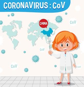 Coronavirus-karte mit wissenschaftler und weltkarte an der wand