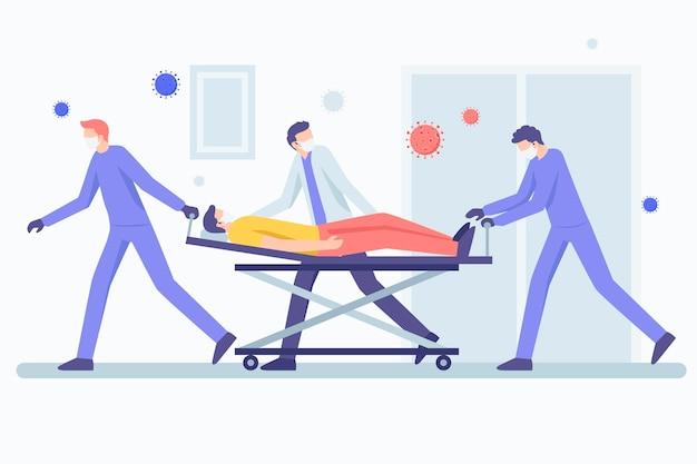 Coronavirus-konzept mit kritischem patienten