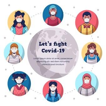 Coronavirus-konzept mit welt illustriert