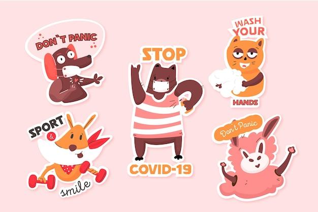 Coronavirus-konzeptaufkleber mit niedlichen tieren