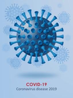 Coronavirus-krankheit covid-19 hintergrund. realistische 3d-viruszellen. illustration.