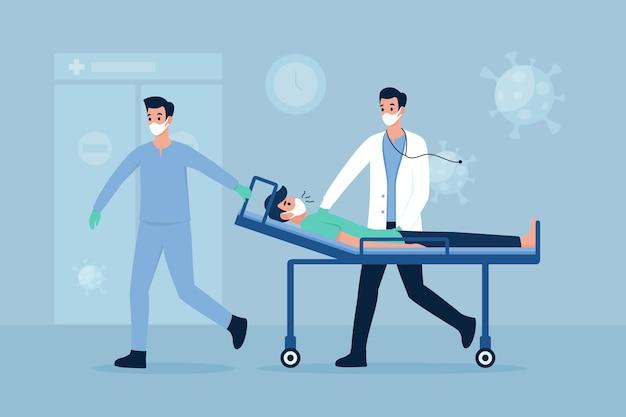 Coronavirus kritischer patient auf trage
