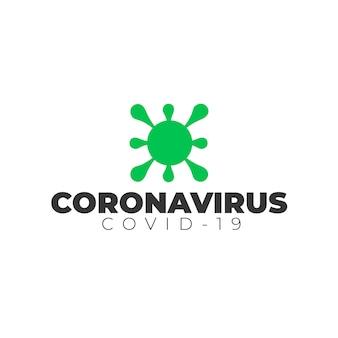 Coronavirus-logo mit schriftart und symbol