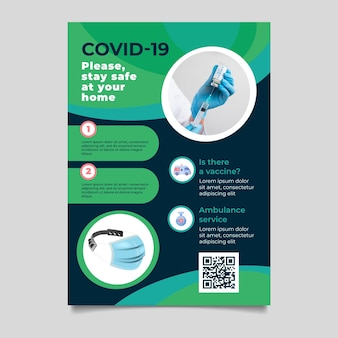 Coronavirus medizinprodukte flyer mit foto