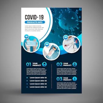Coronavirus medizinprodukte flyer vorlage mit foto