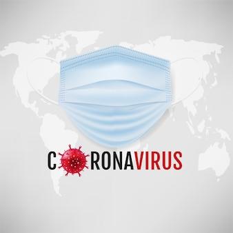 Coronavirus mit medizinischer maske und weltgrauem hintergrund