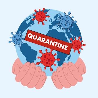 Coronavirus oder quarantäne in der welt, gefährliches virus-epidemie-konzept